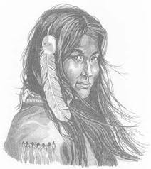 indian maiden in waiting pencil sketch