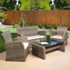 Discount Wicker Patio Furniture Sets Amazon Com Mission Hills Redondo 4 Piece Sunbrella Seating Set