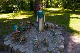 snow white and the seven dwarfs the sculptural composition stock