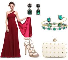 prom accessories how to style wine dress with emerald accessories