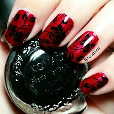black rose gothic nail art fine polish
