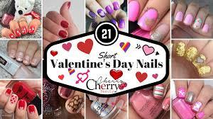 21 short valentines day nails cherrycherrybeauty
