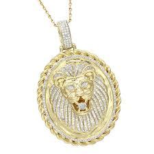 real diamond necklace images Luxurman medallion 14k gold real diamond lions head pendant 1ct jpg
