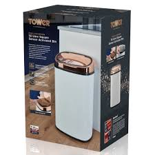 rose gold appliances tower square sensor bin with infrared technology stainless steel