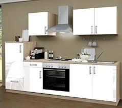 komplett küche küchenzeile 270 cm komplett küche lack weiß mit kühlschrank herd