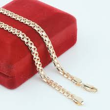 red chain necklace images Fj new 5mm men women 585 gold color chains carve twisted hot jpg