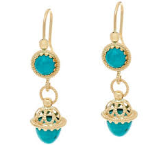 turquoise earrings italian gold turquoise drop earrings 14k gold page 1 qvc