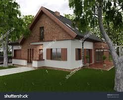European Homes Backyard Modern House Computer Generated Visualization Stock Photo