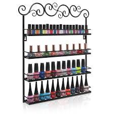 amazon com black metal wall mounted 4 shelf nail salon polish
