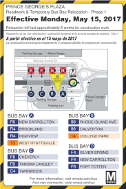 Wmata Map Metro by Bus Bay Relocation Prince George U0027s Plaza May 15 June 6 Wmata