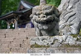 japanese guard dog statues japanese lion guard temple stock photos japanese