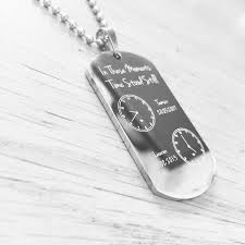 customized dog tag necklace the moment time stood still engraved dog tag necklace 2 clocks