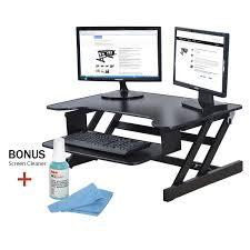 Desk Height Adjusters by Rocelco Adr Height Adjustable Sit Stand Desk Computer Riser Dual