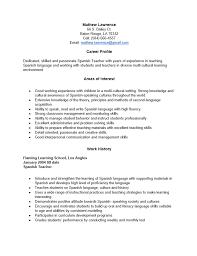 resume format resume templates in spanish free spanish teacher