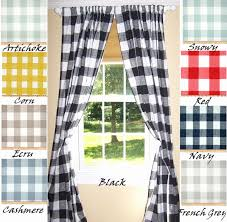 Black Check Curtains Blue And White Checkered Kitchen Curtains Navy