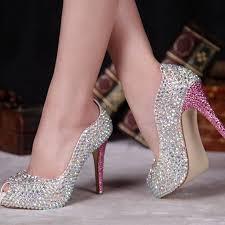 wedding shoes glitter summer ab bridal shoes peep toe sparkly wedding