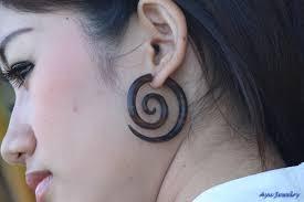 spacer earrings earrings wood spiral tribal wooden earring 9 50