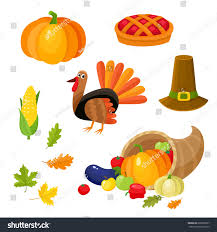 set colorful thanksgiving symbols turkey pumpkin stock vector