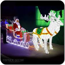 outdoor led lighted santa claus sleigh christmas decoration buy