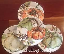 pottery barn s 4 watercolor harvest pumpkin salad plates