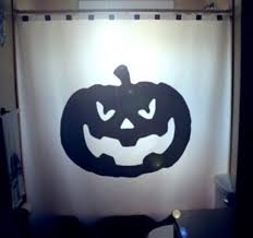 scary jack o lantern halloween pumpkin shower curtain halloween
