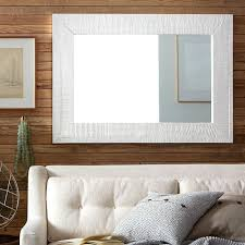 White Framed Mirror Rectangular White Rustic Wooden Mirror Frames Over Tufted Leather