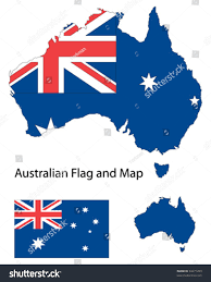 outline shape australia filled australian flag stock vector