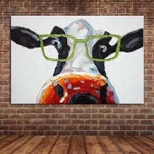 online buy wholesale framed wall murals from china framed wall cartoon animal funny cows wear glasses acrylic oil painting canvas art wall mural pictures decoration for