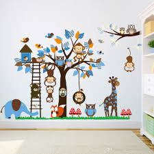 baby nursery decor cartoon wall stickers monkey baby nursery tree