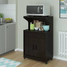 amazon com altra newton microwave cart with shelf black forest