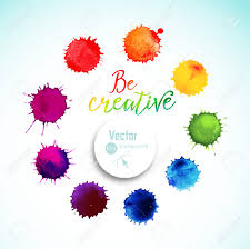 vector rainbow watercolor blobs circle frame of colorful paint