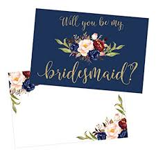bridesmaids invitations 15 will you be my bridesmaid cards navy floral
