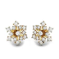 diamond earrings diamond yellow gold 14k winter flower miracle plate