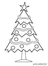 decorated christmas tree coloring print color fun