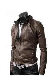 brown leather motorcycle jacket men u0027s slim fit strap buckle collar brown leather jacket