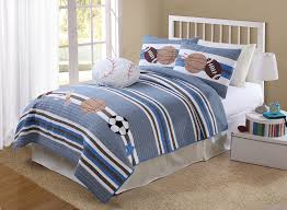 elegant white wooden twin size bed frame decor with sporty bedding