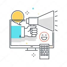 color line television advertisement concept illustration icon