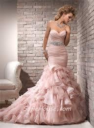 mermaid sweetheart layered blush pink organza wedding dress with