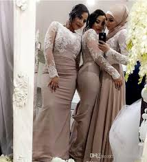 casual chagne wedding dresses 2018 chagne mermaid bridesmaid dresses with white lace