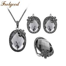 vintage crystal pendant necklace images 2018 feelgood antique silver color vintage jewellery sets flower jpg