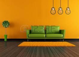 orange livingroom brown living room with orange couch rendering stock photo