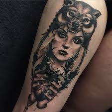 black and gray wolf as headdress