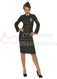 womens wartime officer army military uniform fancy dress costume