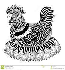 hand drawn zentangle chicken stock vector image 64817635