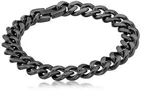 mens black link bracelet images Men 39 s black tone stainless steel 12mm curb chain jpg
