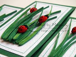 birthday greeting card with quilled ladybugs and grass quilling