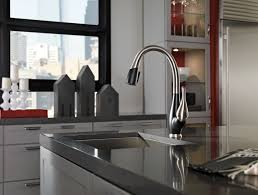 Stainless Faucets Kitchen by Kitchen Faucet Delta Fuse Stainless And Cracked Pepper Lowes