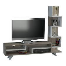 wooden meuble tv avec étagères bicolore brandalley