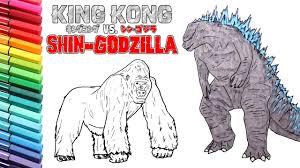 godzilla king kong drawing coloring kids learning