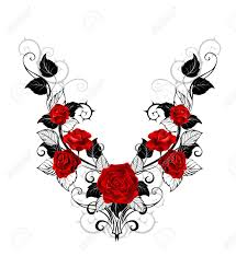 symmetrical pattern of red roses and black leaves and stems on